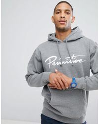 Primitive - Skateboarding Hoodie With Script Logo In Grey - Lyst