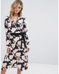 Liquorish - Floral Wrap Dress - Lyst