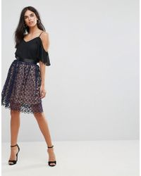 Zibi London - Crochet Lace Two Tone Skirt - Lyst