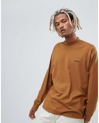 Carhartt WIP - High Neck Script Embroidery Long Sleeve T-shirt In Brown - Lyst