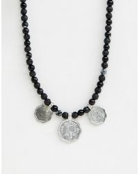 ASOS - Beaded Necklace With Coins And Semi Precious Stones - Lyst