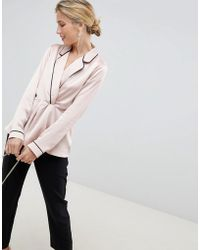ASOS Long Sleeve Plunge Knot Front Satin Top