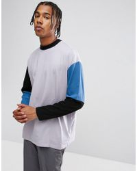 ASOS - Oversized Long Sleeve T-shirt With Cut And Sew Colour Block - Lyst