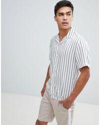 Reiss - Slim Short Sleeve Shirt In Stripe - Lyst