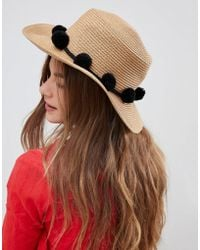Pieces - Straw Hat With Pompoms - Lyst