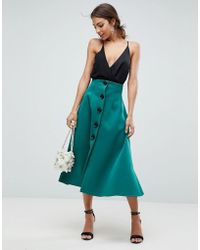 ASOS - Scuba Midaxi Prom Skirt With Button Detail - Lyst