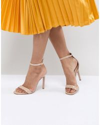 ba6129f5d55 Lyst - ALDO Camy Gold Heeled Sandals in Metallic