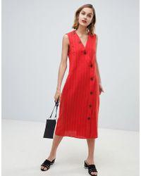 Mango - Button Detail Midi Dress Linen In Red - Lyst