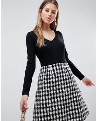Traffic People - Long Sleeve 2-in-1 Skater Dress With Checked Skirt - Lyst