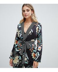Boohoo - Contrast Lapel Jacket In Mixed Floral And Stripe - Lyst