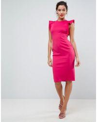 ASOS - Asos Scuba Midi Pencil Dress With Frill Sleeve - Lyst