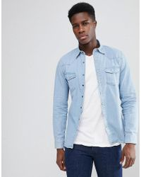 Mango - Man Western Denim Shirt In Light Wash - Lyst