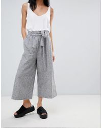 Pull&Bear - Tailored Wide Leg Trouser With Tie Waist - Lyst
