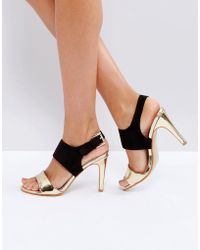 Little Mistress - Contrast Buckle Heeled Sandal - Lyst