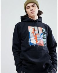 Vans - Above Chima Pullover Printed Hoodie With Backprint In Black - Lyst