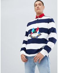 Polo Ralph Lauren - Bring It Back Embroidery Flags Long Sleeve Stripe Rugby Polo Contrast Collar In White/navy/red - Lyst