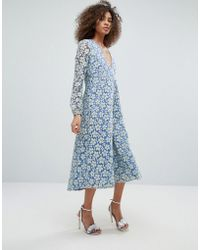 Traffic People - Contrast Lace Overlay Maxi Dress - Lyst