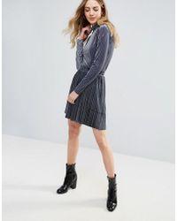 Ichi - Velvet Pleated Mini Skirt - Lyst