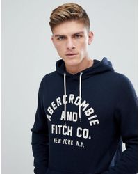Abercrombie & Fitch - Large Front Flock Logo Hoodie In Navy - Lyst