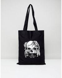 ASOS - Design Tote Bag In Black With La Skull Print - Lyst