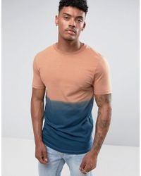 ASOS - Longline Muscle T-shirt With Dip Dye In Navy With Curved Hem - Lyst