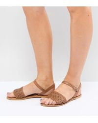 ASOS - Design Victory Wide Fit Leather Woven Flat Sandals - Lyst