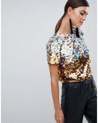 ASOS - Design Premium Ombre Disco Sequin T-shirt - Lyst