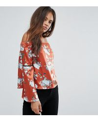 030fea42c2d Missguided - Exclusive Tall Bardot Floral Print Top - Lyst