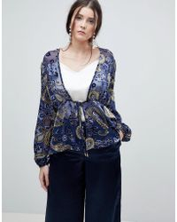Lioness - Summer Velvet Printed Sheer Wrap Front Top - Lyst