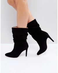 London Rebel - Rouched Low Height Stiletto Boot - Lyst
