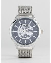 Reclaimed (vintage) - Inspired Exposed Mechanics Mesh Watch In Silver - Lyst