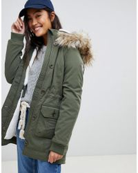 Hollister - Teddy Lined Parka Jacket With Faux Fur Hood - Lyst