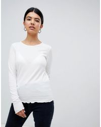 Pimkie - Frill Edge Long Sleeve Top In White - Lyst