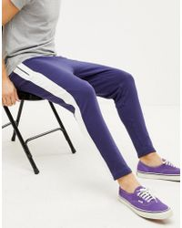 Sixth June - Skinny Joggers In Blue With Side Stripe - Lyst