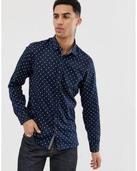 Ted Baker Рубашка С Геометрическим Принтом - Темно-синий