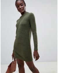 Pieces - Funnel Neck Sweater Dress - Lyst