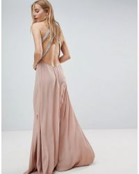 ASOS - Embellished Trim Backless Maxi Dress - Lyst