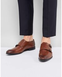 HUGO - Dressapp Burnished Calf Leather Double Strap Monk Shoes In Black - Lyst