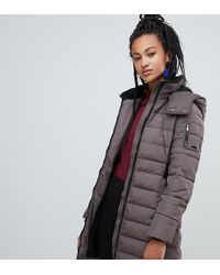 Esprit - Longline Padded Jacket With Hood In Taupe - Lyst