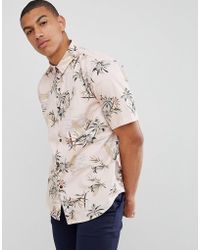 Bershka - Shirt With Floral Print In Pink - Lyst