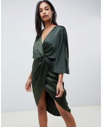 ASOS - Satin Kimono Midi Dress With Knot Front And Asymmetric Sleeve - Lyst