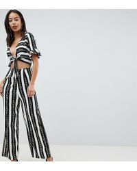 ASOS - Asos Design Tall Tea Jumpsuit With Cut Out And Tie Detail In Chain Print - Lyst