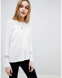 Warehouse - Lace Insert Pleat Detail Top - Lyst