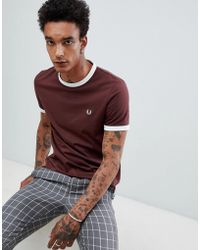 Fred Perry - Ringer T-shirt In Burgundy - Lyst