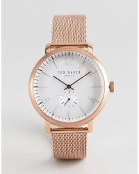 Ted Baker - Te50015010 Oliver Mesh Watch In Rose Gold 43mm - Lyst