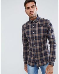 d545eb7c7e42 ASOS Skinny Check Shirt In Brown in Brown for Men - Lyst