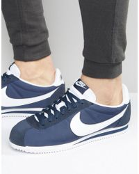 Nike - Classic Cortez Nylon Trainers In Navy 807472-410 - Lyst