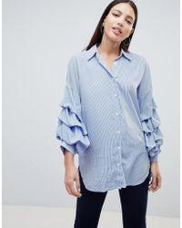 7de9263c0a8 Lyst - Vila Winther Stripe Long Shirt In White