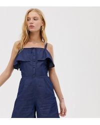 Warehouse - Ruffle Cold Shoulder Playsuit - Lyst
