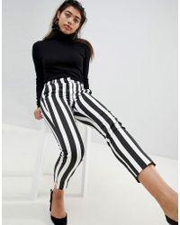 Mango - Stripe Peg Crop Pants - Lyst
